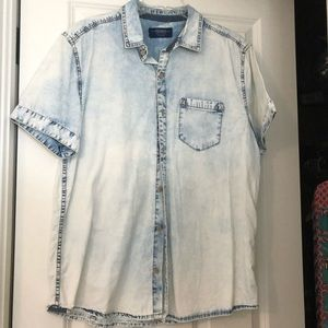 pull & bear distressed denim shirt
